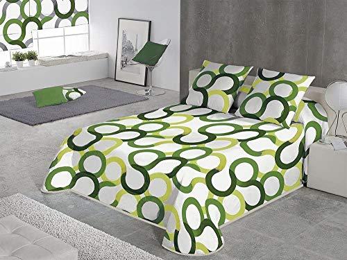 SABANALIA - Colcha Estampada Aros (Disponible en Varios tamaños y Colores), Cama 150-250 x 280, Verde