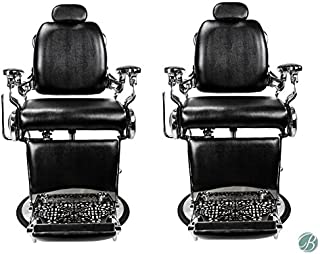 Set of 2 Roosevelt Vintage Style Barber Chair Reclining Heavy Duty Versatile Barber Chair