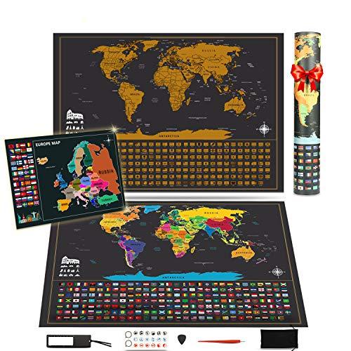 KOOOPER Mapa del Mundo, Mapa Mural para Rascar del Mundo 255*165mm y 180*130mm - País, las Ciudades que Visitó - para Viajeros/Exploradores/Coleccionistas, etc - Con Pegatinas + Herramienta de Rayado