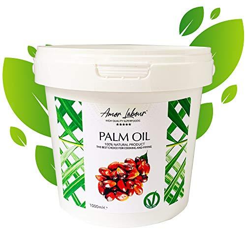Amor Labour Palmöl | Palm Oil | Palmfett | 100% Natural Palmkernöl | Vitamin E | vegan | glutenfrei | raffiniert | perfekt geeignet zum Frittieren und Kochen | DIY Natürliche Seife und Kosmetik 1000ml