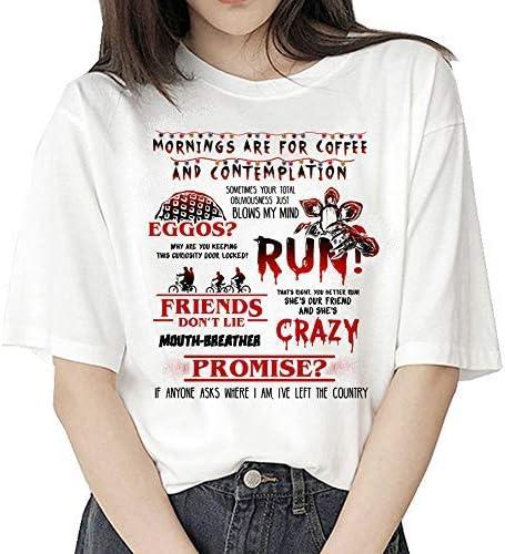 Camiseta Stranger Things Niña, Camiseta Stranger Things Mujer, Impresión T-Shirt Abecedario Camiseta Stranger Things Temporada 3 Camisa de Verano ...