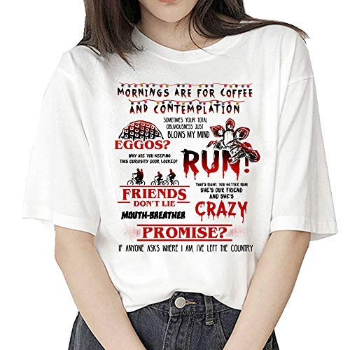 Camiseta Stranger Things Niña, Camiseta Stranger Things Mujer, Impresión T-Shirt Abecedario Camiseta Stranger Things Temporada 3 Camisa de Verano Regalo Camisetas y Tops (01,M)