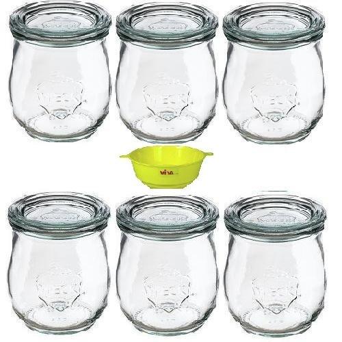 Viva Haushaltswaren - 6 x kleines Weckglas/Einmachglas 220 ml mit Deckel in in Tulpenform, leeres Rundrandglas zum Einkochen - als Vorspeisenglas, Dessertglas (inkl. Trichter)