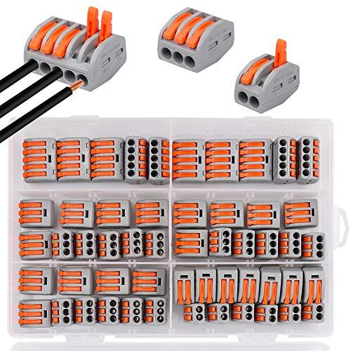 Bornes de Connexion,DIAOPROTECT 60 pinces Connecteur électrique avec levier de fonctionnement,Compact Borne de connexion électrique Automatique,20 pinces 2 voies,30 pinces 3 voies,10 pinces 5 voies
