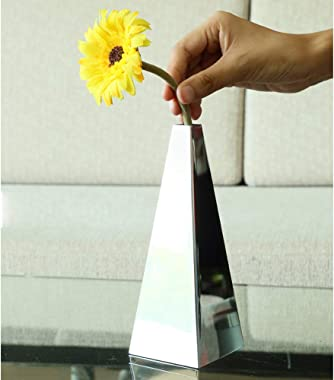 xgfdb Pyramid Shape Vase Decoration Stainless Steel Vase Desktop Countertop Vase Flower Inserter Home Decor Small Vase Silver