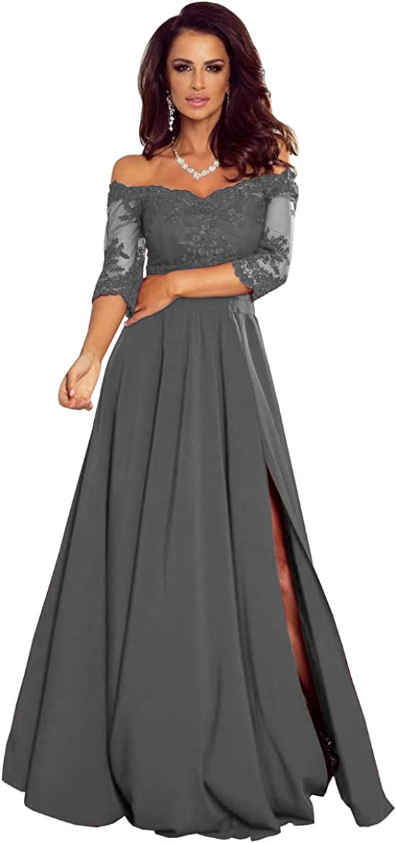Women's Off The Shoulder Half Sleeves Lace Mother of The Bride Dresses Chiffon Formal Evening Gowns with Slit