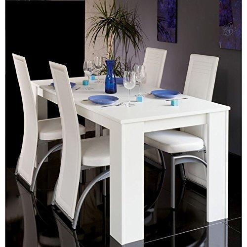 maisondesign.fr Table à Manger Extensible Console Cityline 120-160-200 cm Blanc Brillant