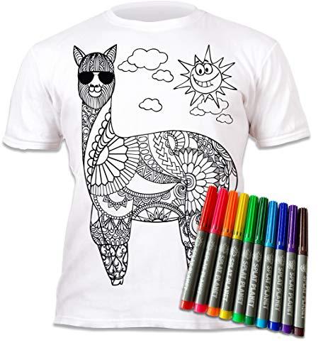 Kinder T-Shirt Cooles LAMA. Zum Bemalen und Ausmalen mit Vordruck. Mitgeliefert 6 auswaschbare Magic - Malstifte. Kindergeburtstag 5-6 Jahre