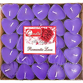 50Packs Heart Shaped Tealight Candles,Romantic Love Unscented Tea Lights Candles,Dripless & Long Lasting Smokeless Mini Tealight Candles for Mood,Romantic Decor,Pool,Dinners,Home,Wedding,Crafts,Purple