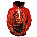 Sudadera para Hombre Funny Lion Fashion Plus 3D Animal Printed Unisex Jerseys-L