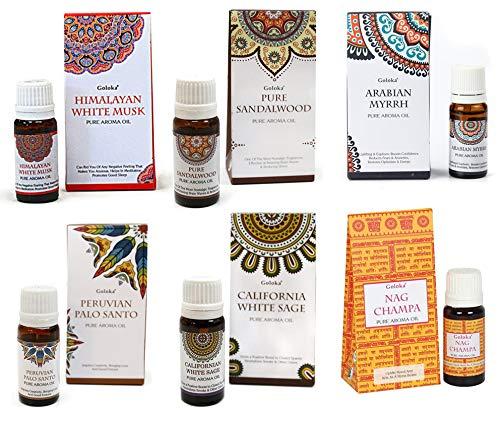 Pack 6 Aceites Aromáticos | Salvia Blanca + Palo Santo + Sándalo + Mirra + Nag Champa + Almizcle...