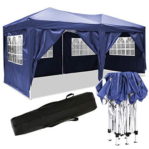Bunao Garten 3X6M Wasserdicht Pavillon Partyzelt/Faltpavillon/Gartenpavillon/Gartenlauben/Party-Und Festzelt/Camping-Und Festival-Zelt/Hochzeit mit 4 Seitenteilen/Seitenwänden (A_Blau)