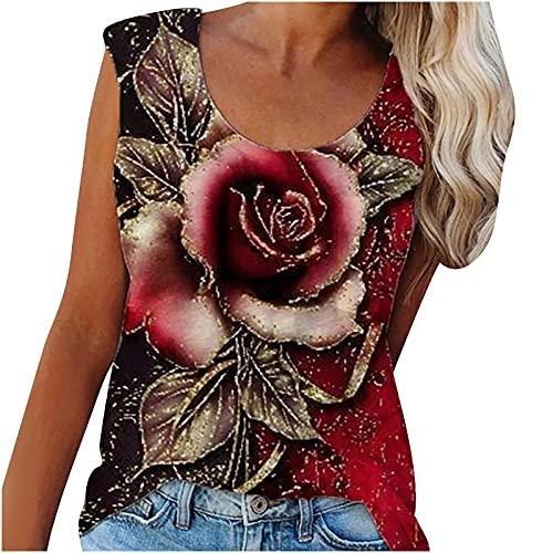 AMhomely Camisas y blusas para mujer con estampado de flores, para verano, informal, informal, sin mangas, con estampado de flores, para oficina, talla británica