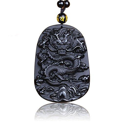 Collar con colgante de estilo clásico oriental para hombre, diseño de dragón, péndulo de piedra, cadena de obsidiana a juego, color negro y dorado