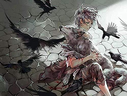 Anime jongen en gewonde wolf – voor volwassenen 1000 stukjes, doe-het-zelf houten speelgoed voor kinderen Educatieve…
