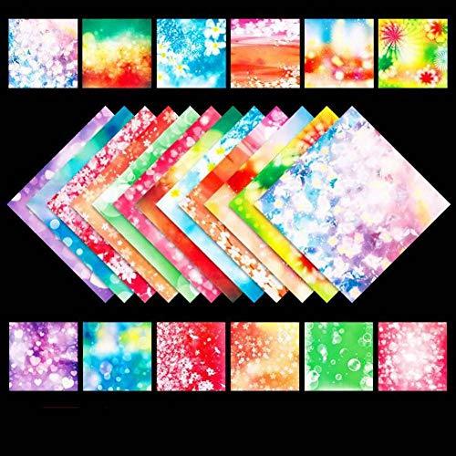 DIFIER Origami-Papier Doppelseitiges Bastelpapier für Kinder, 200 Blatt 15 x 15 cm großes quadratisches Dekorationspapier für Kunsthandwerksprojekte (Blumen Reim)