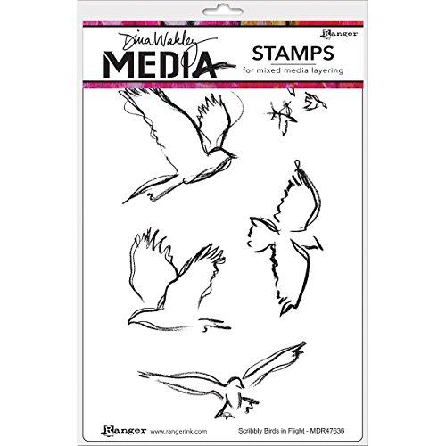 Ranger Scribbly Birds in Flight Dina Wakley Media Cling Stamps, 6' by 9'