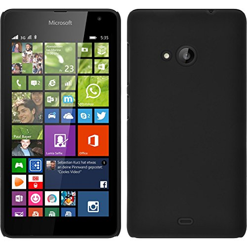PhoneNatic Hülle kompatibel mit Microsoft Lumia 535 - Hülle schwarz gummiert Hard-case + 2 Schutzfolien
