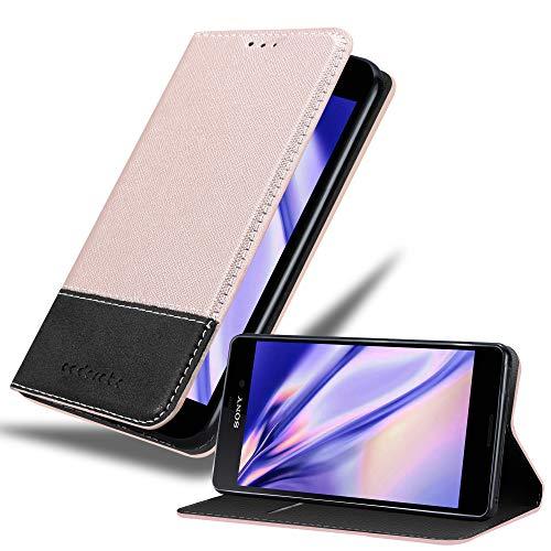 Cadorabo Hülle für Sony Xperia M4 Aqua - Hülle in Rose Gold SCHWARZ – Handyhülle mit Standfunktion und Kartenfach aus Einer Kunstlederkombi - Case Cover Schutzhülle Etui Tasche Book