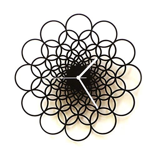Rings - 16' Unique Contemporary Handmade Wooden Wall Clock in larger size, Geometric Design by ardeola