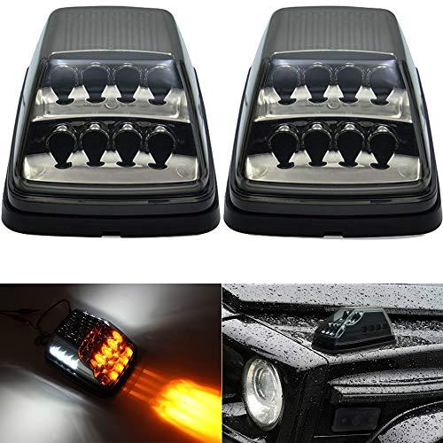 Front LED Dynamic Turn Signal Light Kits For 1990-2018 Mercedes W463 G-Class G500 G550 G600 G55 G63 AMG Amber LED Sequential Turn Signal Corner Lights White LED Position Lights Black Lens