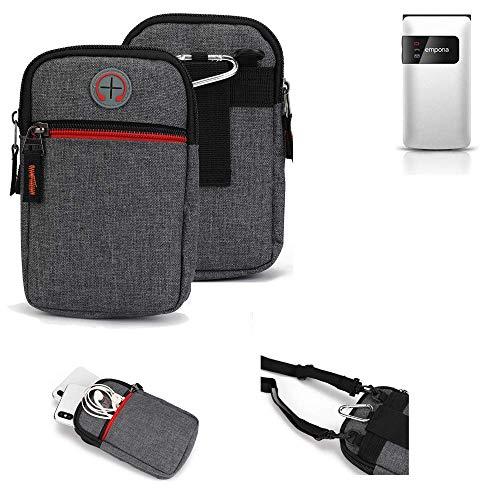 K-S-Trade® Gürtel-Tasche Für Emporia FLIP Basic Handy-Tasche Schutz-hülle Grau Zusatzfächer 1x