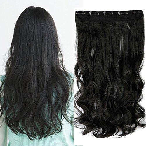 """Extension a Clip Cheveux Clips Cheveux Extension [1 Pièce 5 Clips] Sans Shedding/Tangle/Noeud [24""""/60CM][Noir Naturel] - Ondulé"""