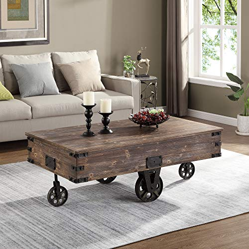 """FirsTime & Co. Factory Cart Coffee Accent Table, 45"""" x 17"""" x 29.5"""", Rustic Espresso/Antique Black,70084"""