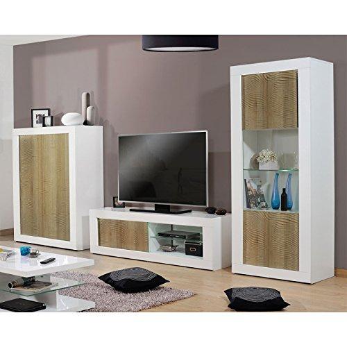 Tousmesmeubles Composition TV Blanc/Chêne Clair à LEDs - Marks - L 370 x l 45 x H 190 - Neuf