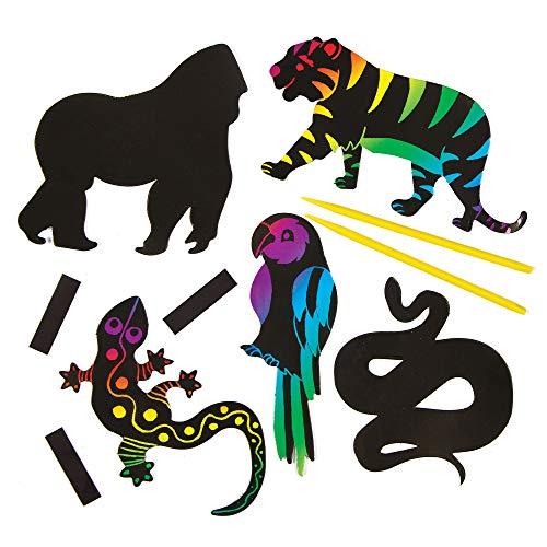 """Baker Ross AG801 Kratzbild-Magnete """"Dschungeltiere"""" für Kinder zum Basteln, Gestalten und als Deko-Idee im Sommer (12 Stück), Bunt, Pack de"""