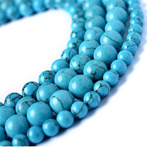 JulieWang Stränge mit Perlen aus Türkis, Naturstein, runde, lose Perlen, Blau, für die Schmuckherstellung, 2Stück, blau, 4 mm