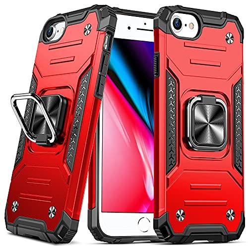 DASFOND Armor Hülle für iPhone SE 2020 iPhone 8/7/6S/6 Case Militärische Stoßfeste Handyhülle [Upgrade 2.0] Cover 360 ° Ständer mit Auto Magnet,Rot