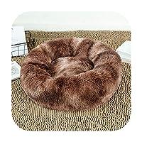 ラウンドぬいぐるみペット猫ベッドソフトウォームキャットハウスペットベッド猫子犬冬ラウンドベッド小中大型犬猫-color 13-100cm