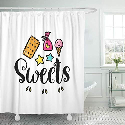 N / A Wasserdichter Stoff Duschvorhang Haken Candy Phrase Süßigkeiten & Farbe Cookie Kreative Kreativität Extra langes Bad Geruchlos umweltfre&lich