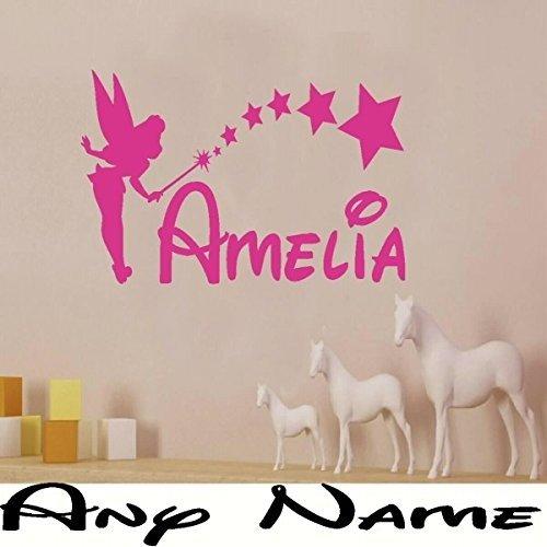 Sticker mural Motif fée clochette (Clochette), personnalisable avec n'importe quel nom, 3 tailles, pour chambre d'enfants, rose, – Large – Taille 90 cm x 60 cm