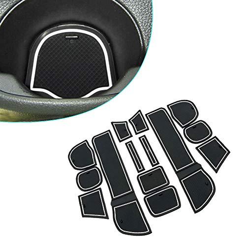 Muchkey pour 2009-2011 Fit Intérieur Coupe Porte Mat Tapis de Cuir Voiture Style Anti Poussière Antidérapante Tapis 14 pièces par Set Blanc
