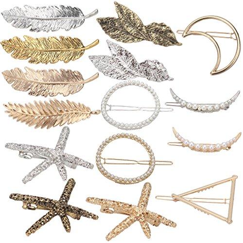 Hapdoo Minimalist Dainty Hairpin 15pcs Geometric Hair Clip Clamps for Women Girls, Starfish, Circle, Triangle, Moon, Leaf hair barrettes