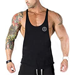 Deportivo Gym Camisetas Sin Manga Tank Tops de Tirantes Hombre Suelto Chaleco Fitness Gimnasio Algodón