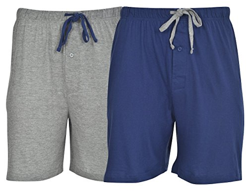 Hanes Men's 2-Pack Knit Short,Blue Depth/Active Grey Heather,Large