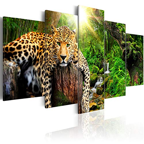 murando Acrylglasbild Tier 200x100 cm 5 Teilig Wandbild auf Acryl Glas Bilder Kunstdruck Moderne Wanddekoration - Leopard Wald Natur g-C-0031-k-n