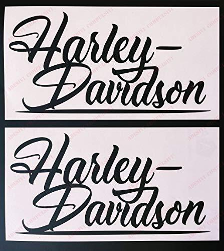 Stemma logo decal HARLEY DAVIDSON, coppia scritte, adesivi moto. Per SERBATOIO. Colore: NERO
