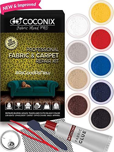 Coconix Kit de reparación de tela y alfombra - Reparador de su asiento de coche, sofá, muebles, tapicería o chaqueta, arregla agujeros de quemadura de cigarrillos, rasgaduras o rasgaduras. Instrucciones muy fáciles para combinar con cualquier color, patrón