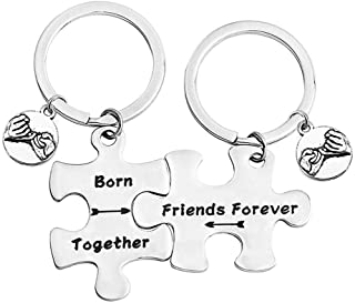 bobauna Born Together Friends Forever Puzzle Piece Keychain Set Gift For Twin Sisters Brothers BFF