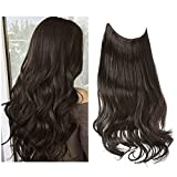 Dark Brown Halo Hair Extension Short Synthetic Hair Piece Wavy Curly 14 Inch 3.7 Oz Invisible Wire Adjustable Headband for Women High Temperature Fiber No Clip SARLA(M04&6#)