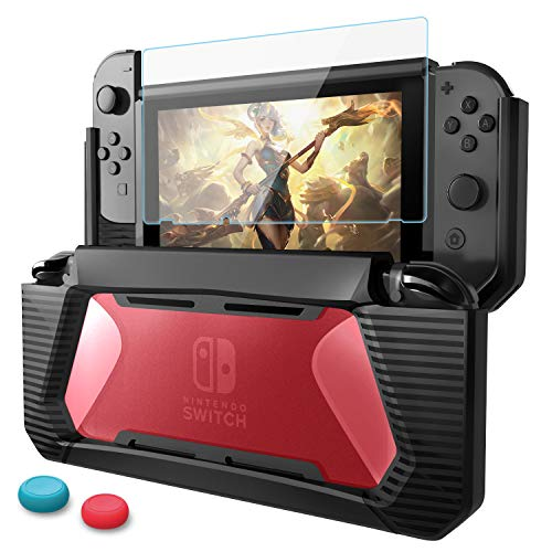 HEYSTOP Compatible with Nintendo Switch Case with Screen Protector, TPU Protective Heavy Duty Cover Case for Nintendo Switch with Shock-Absorption and Anti-Scratch (Black/Red)