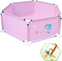 HOMESROP Foldable Ball Pool?Playpen Ball Pit Pool Indoor And Outdoor With Crawling Mat ?0-3 Years Old Protective Fence?Playyard Household (Color : Pink)