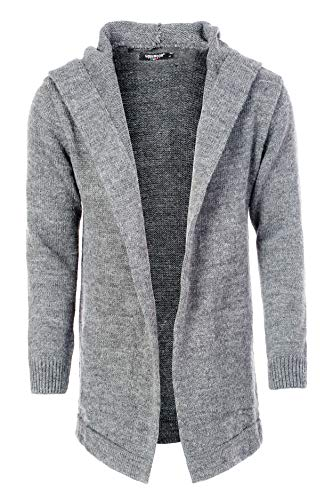 CARISMA Herren Strickjacke Herren Jacke mit Kapuze 7601, Grey, L