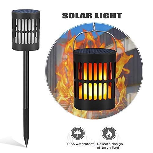 HEEGNPD Solar Landscape Lights,96 led Waterproof Courtyard Flame lamp Outdoor Security Fairy Lighting,Warm Light Creates a Comfortable and Pleasant Atmosphere at Night