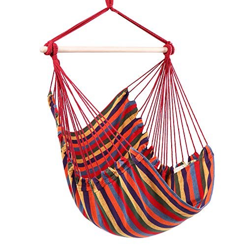 Y- STOP Hammock Chair Hanging Rope Swing, Max 330 Lbs, Quality Cotton Weave for Superior Comfort, Durability (Red Stripe)