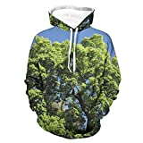 Niersensea Sudadera con capucha para niños grande, diseño de árbol verde, con estampado de árboles, con cordón, Unisex adulto, Blanco, medium